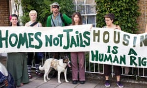 Protesters outside justice secretary Ken Clarke's house
