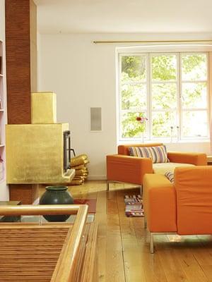 Copenhagen house: Living room and stairwell