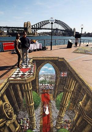 3D pavement art: 6 September 2011: 3D interactive art featuring the Royal Wedding