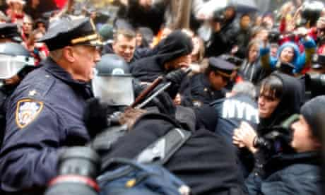 Police clash with protesters from the Occupy movement in New York