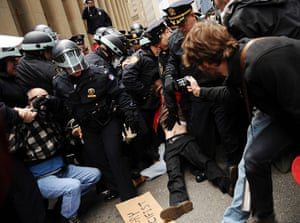 Occupy Day of Action: Occupy Wall street demonstrators are arrested by the police
