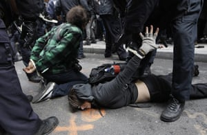Occupy Day of Action: Police officers arrest a demonstrators at the Occupy Wall Street movement