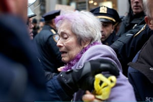 Occupy Day of Action: Elderly woman is pushed by police in New York's Financial District