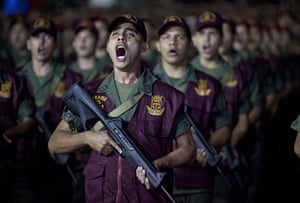 24 hours in pictures: Caracas, Venezuela: Members of the National Guard