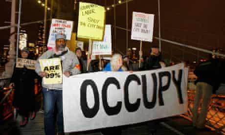 Occupy Wall Street demonstrators Brooklyn Bridge