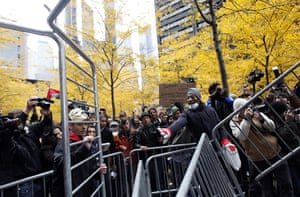 Occupy, Day of Action: Occupy Wall Street protesters remove police barricades in Zuccotti Park