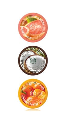 A selection of body butters from The Body Shop