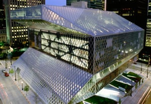Seattle Public Library at twilight