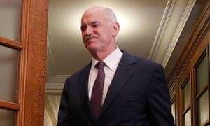 George Papandreou attends an emergency cabinet meeting