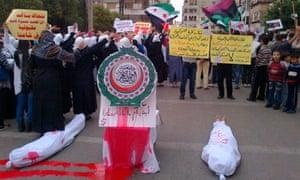 Syrian protestors against Bashar al-Assad and Arab League