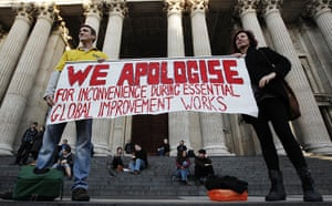 Signs at Occupy London: improvement works