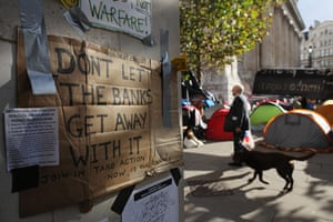 Signs at Occupy London: don't let the bankers get away with it