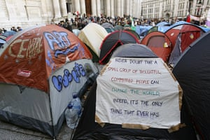 Signs at Occupy London: tents