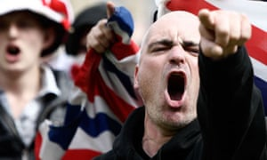 English Defence League supporters chant during  a demonstration in Bradford