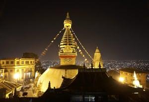 FTA: Navesh Chitrakar: The illuminated Swayambhunath Stupa in the Kathmandu valley