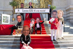Anti G20: Activists of Oxfam France dressed as the G20 leaders