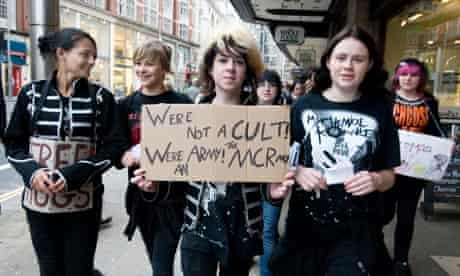 Demonstration by emos, fans of My Chemical Romance