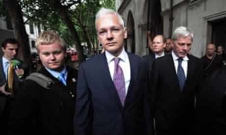 Julian Assange arrives