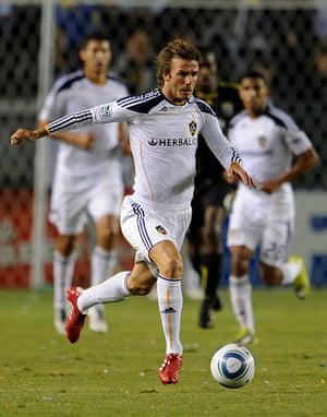 beckham3: David Beckham controls the ball upon his