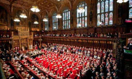 The Queen speaks at the House of Lords during the state opening of parliament in 2010.