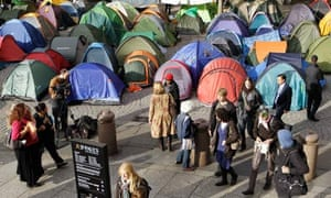 Occupy London tents outside St Paul's Cathedral in London on Wednesday.