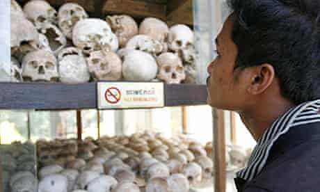 Skulls of Khmer Rouge victims are on display at Choeung Ek Genocidal Centre in Phnom Penh