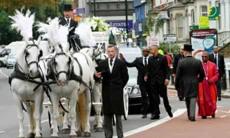The funeral of Mark Duggan, Tottenham, London.
