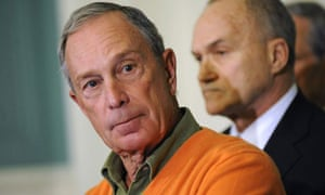 New York mayor Michael Bloomberg at a news conference with police commissioner Ray Kelly