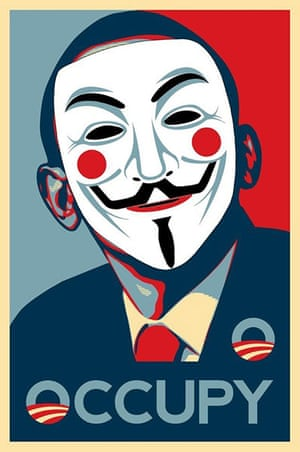 Occupy posters: A poster using an image of Barack Obama