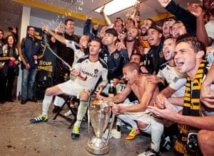 Beckham MLS: David Beckham celebrates with the MLS Cup