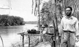 Levi-Strauss by the Amazon river in Brazil, circa 1936