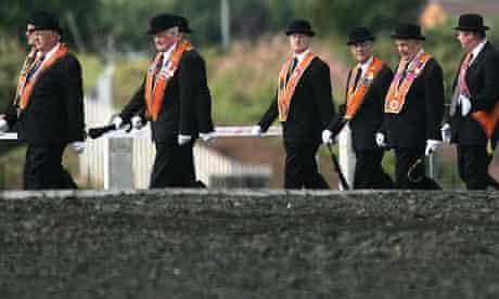 Orangemen march in west Belfast