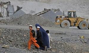 An open-cast mine in the Turkham Nangarhar region of Afghanistan