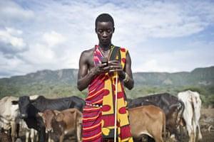 Climate change in Kenya: Maasai pastoralists living near the Tanzanian border Kojiado District Kenya