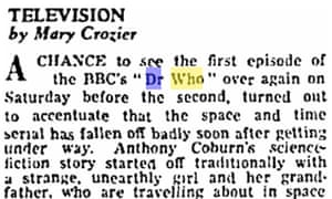 Dr Who review, 1963