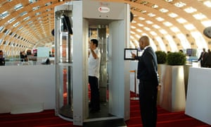A full-body scanner being trialled at Roissy Charles-de-Gaulle airport