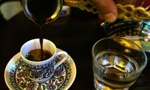 A traditional Turkish coffee is served at a coffee house in Istanbul.