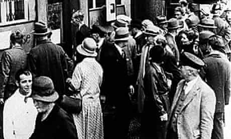 A crowd gathers at the Darmstaedter and National Bank in Berlin in 1931