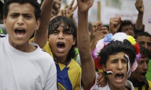 Protesters at a demonstration demanding the prosecution of the Yemeni president, Ali Abdullah Saleh