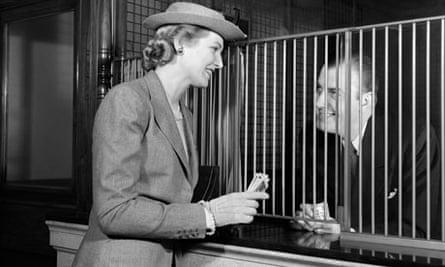 Teller at a 1940s bank