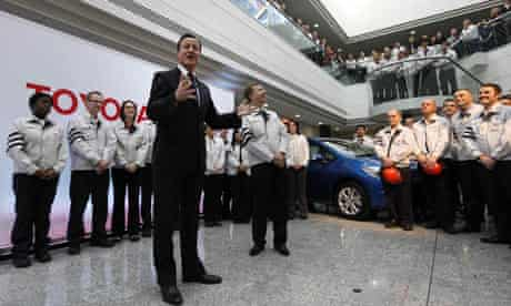 David Cameron touring the Toyota factory in Derby