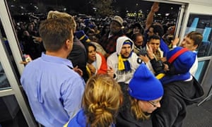A Best Buy store openes at midnight for Black Friday shopping in Mesquite, Texas