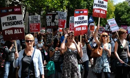 A public sector pensions protest in June