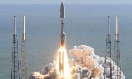 The Mars Curiosity rover takes off from Cape Canaveral on an Atlas V rocket.