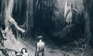 Engraving by Gustave Dore depicting Adam, Eve and the Archangel Michael from Paradise Lost