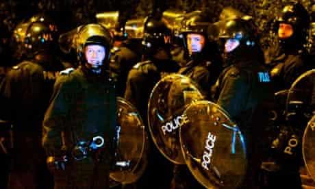Riot police in Eltham