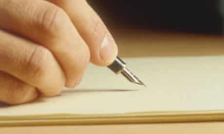 Man's hand writing.