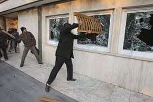 Tehran embassy: Iranian protesters break the windows of a British Embassy building, Tehran