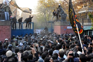 Tehran British embassy: A large number of protesters strom a security gate