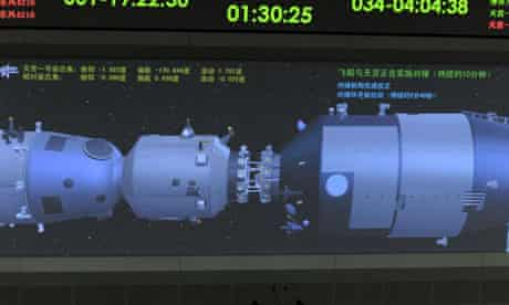 An animation of the Tiangong-1 module and Shenzhou-8 spacecraft